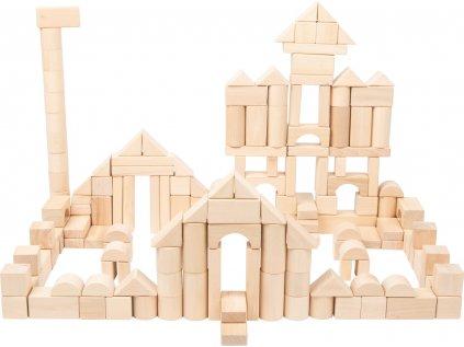 Dřevěné kostky 200 ks přírodní