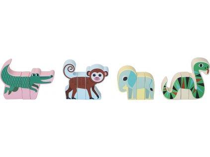 Dřevěné magnetické puzzle zvířátka Jungle