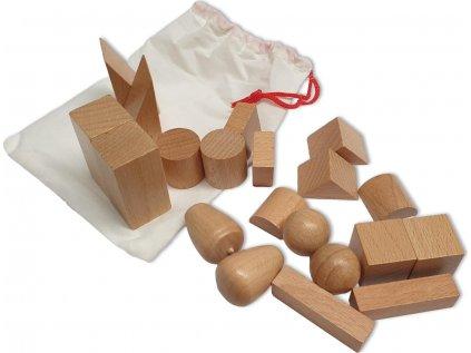Tajemný sáček s geometrickými tvary (2 sady)