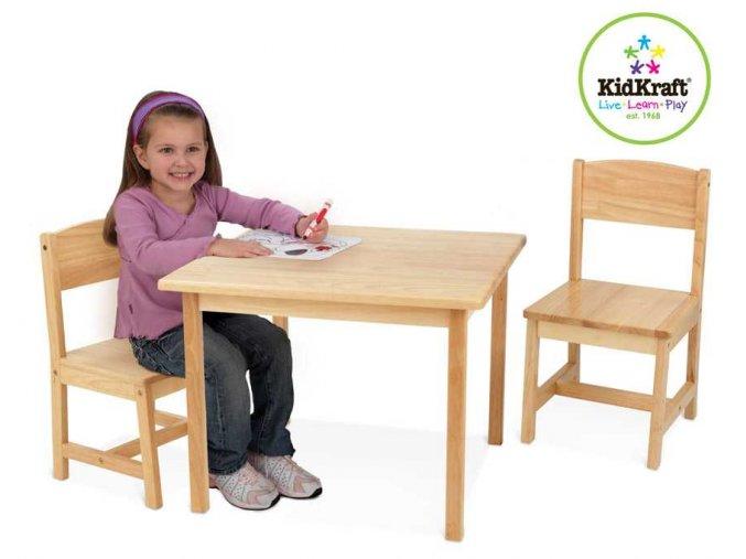 Dětský stůl se dvěma židličkami natural