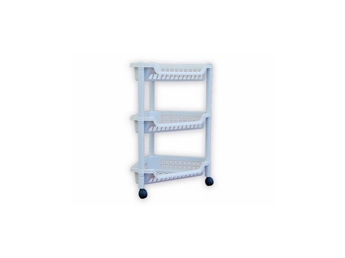 Regál rohový 3 košíky bílý