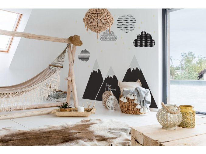 Dekorace za postel DEKORNIK - Hory černá
