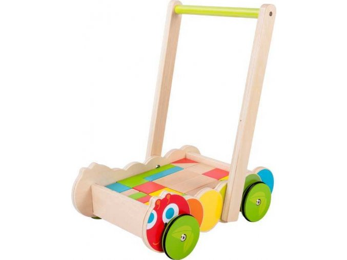 Small Foot Chodítko dřevěné kostky ve vozíku housenka