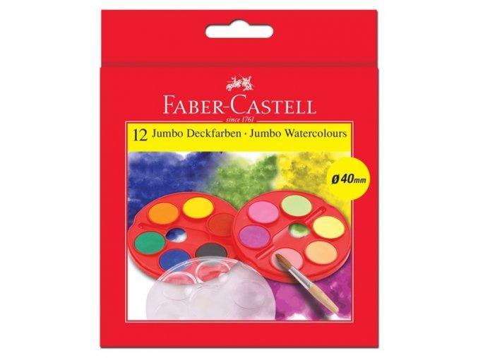 Vodové barvy JUMBO 12 barev + štěteček Faber-Castell