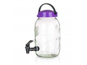 Nápojový zásobník s ventilem 3l sklo (Vyberte si barvu zelená)