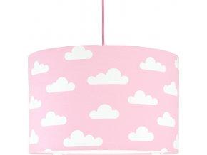 Textilní závěsná lampa Obláčky - růžová