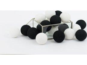 Bavlněné svítící kuličky černo-bílé
