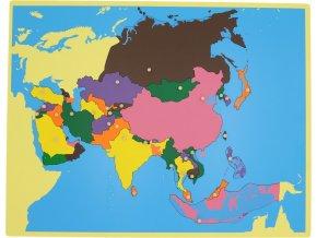 Puzzle - mapa Asie - bez rámečku