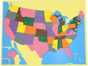 Puzzle - mapa USA - bez rámečku