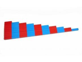 Červeno-modré tyče z bukového dřeva