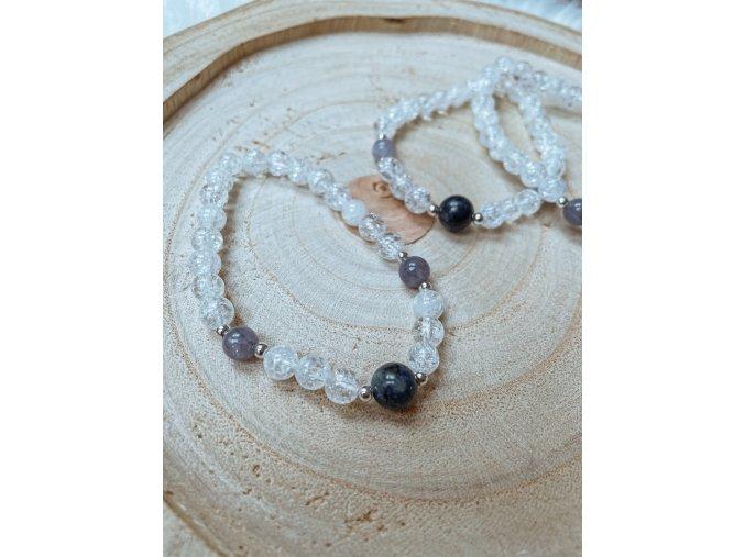 Náramek - Křišťál, Lapis Lazuli a Čaroit nebo Ametyst