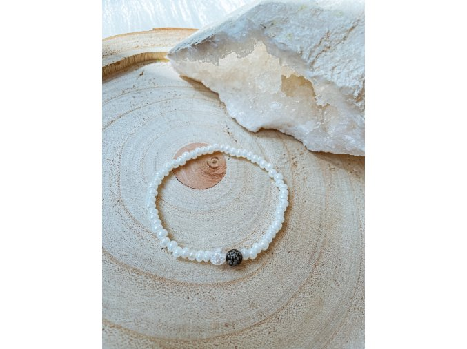 Náramek - Obsidián vločkový, křišťál a perličkové korálky
