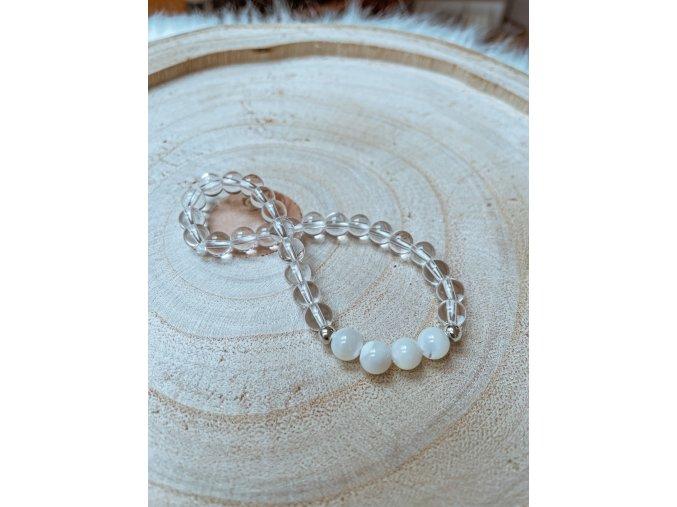 Náramek - křišťál a perleť bílá