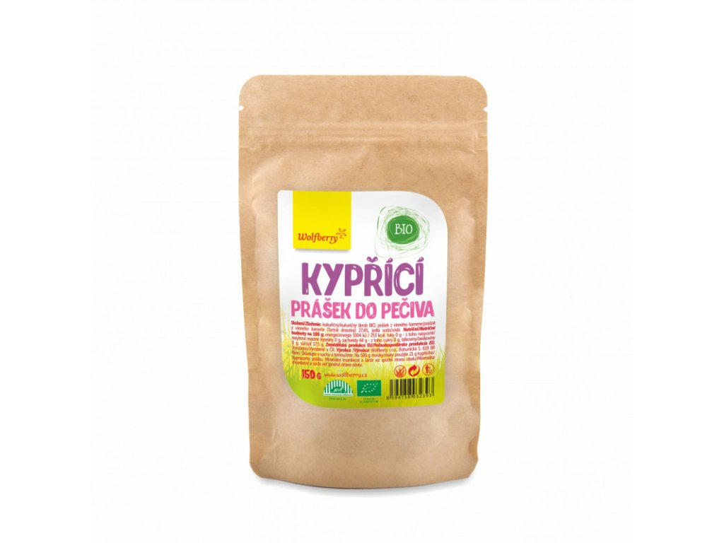 kyprici prasek do peciva bezfosfatovy bio 150 g wolfberry