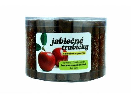 Jablečné trubičky s karobovou polevou dóza