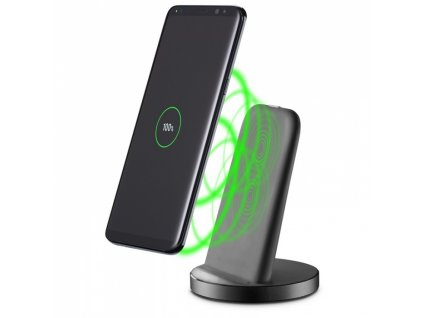 Bezdrátová nabíječka CellularLine Wireless Fast Charger Stand - černá