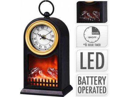 Elektrický krb s LED plameny a hodiny