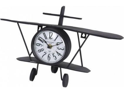 Hodiny nástěnné nebo stojící dekorativní Letadlo 38 cm HOMESTYLING KO-NB1402010