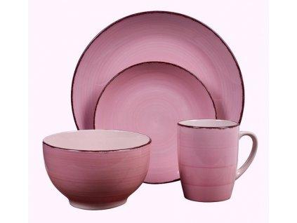 Jídelní sada talířů VALENCIA kamenina 16 ks růžová