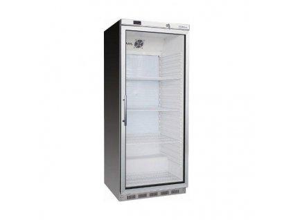 NORDline UR 600 GS nerez Jednodveřová chladicí skříň s prosklenými dveřmi, nerezové opláštění.