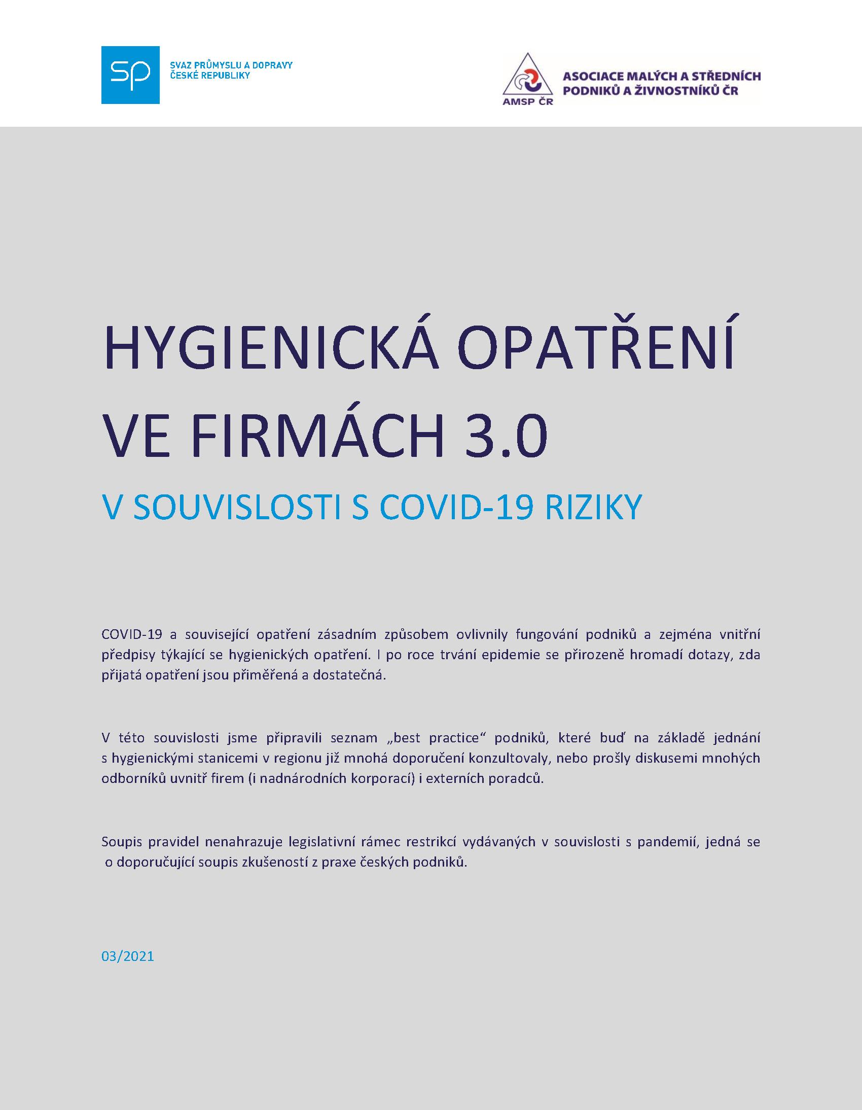 HYGIENICKÁ OPATŘENÍ VE FIRMÁCH 3.0 V SOUVISLOSTI S COVID-19 RIZIKY
