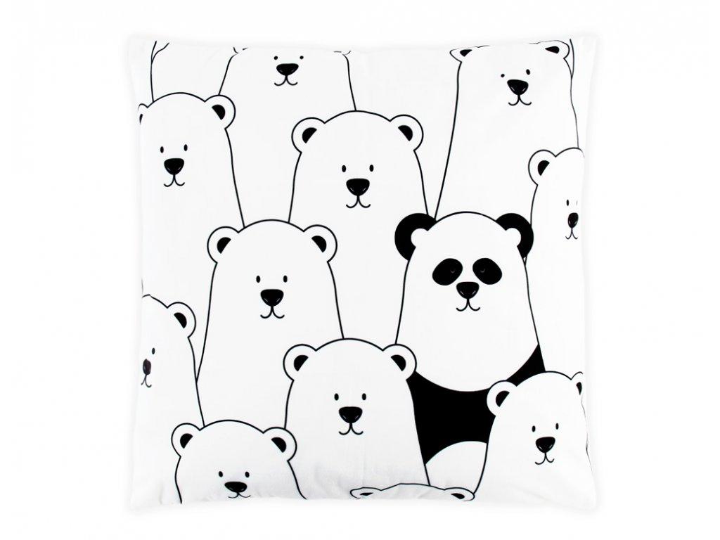 Černobílý povlak na polštář - Panda