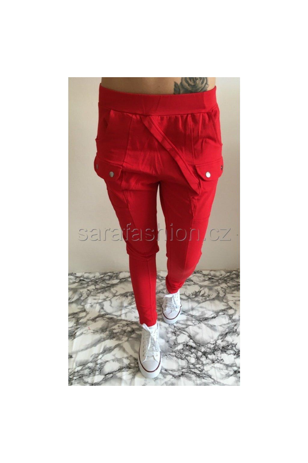 """Luxusní teplákové kalhoty """"ricky"""" červené"""
