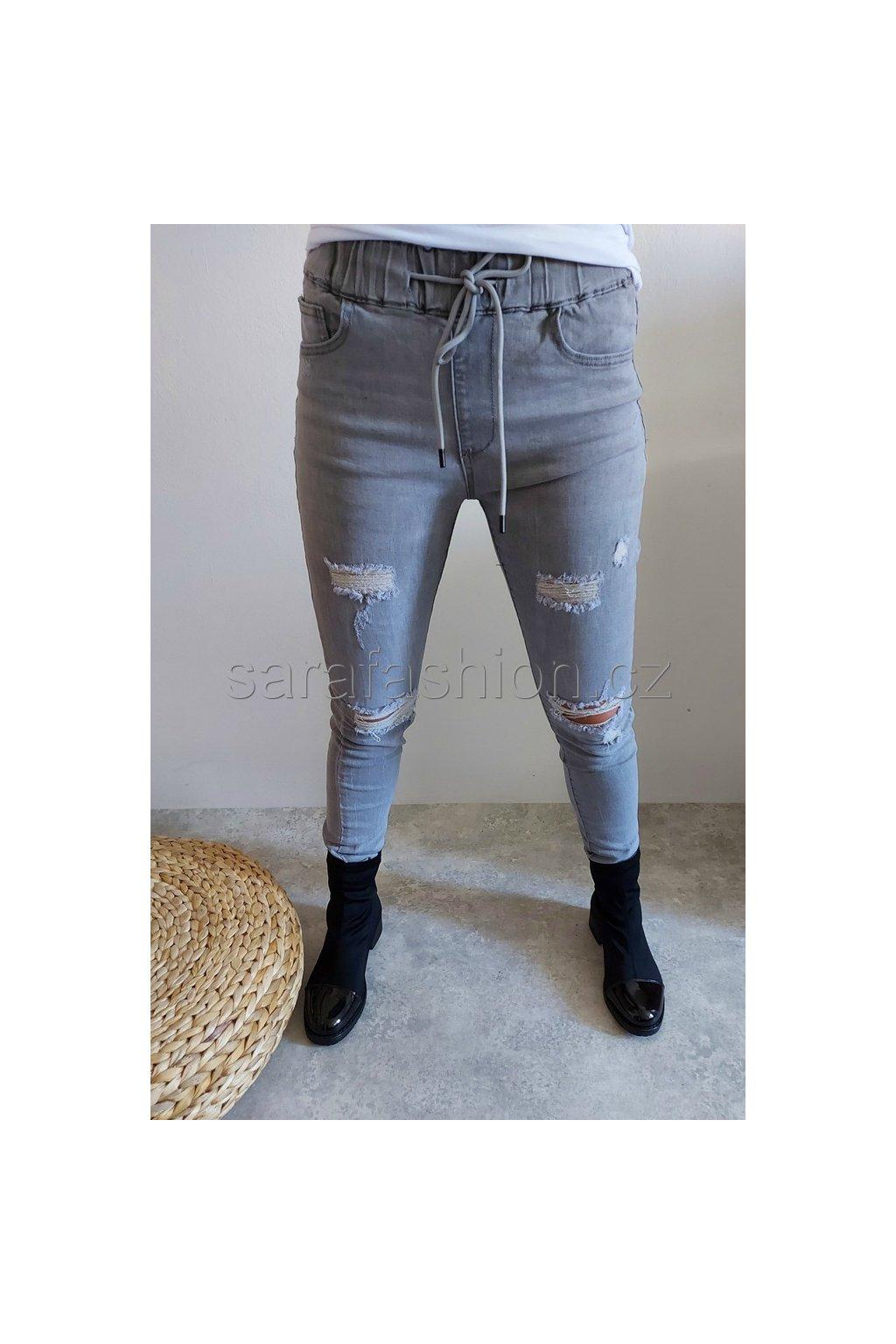 """Jeans kalhoty """"loen"""" šedé"""