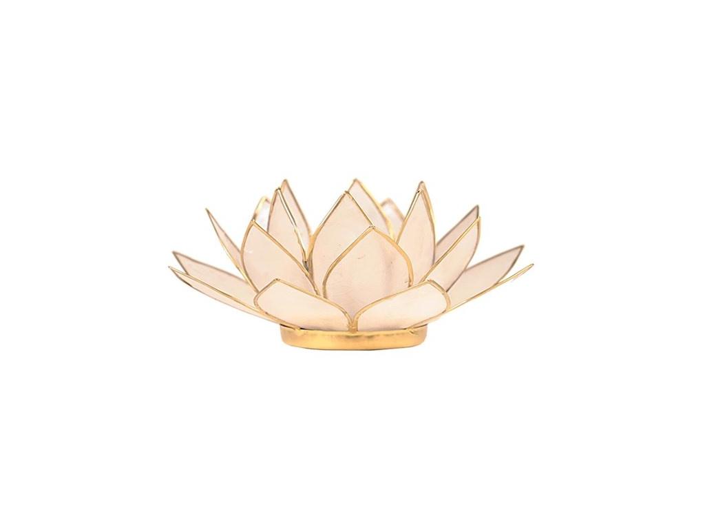Lotosový svícen přírodní perleťový