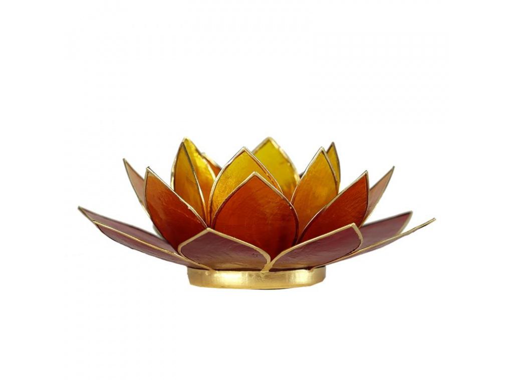 Lotosový svícen zlato-hnědý