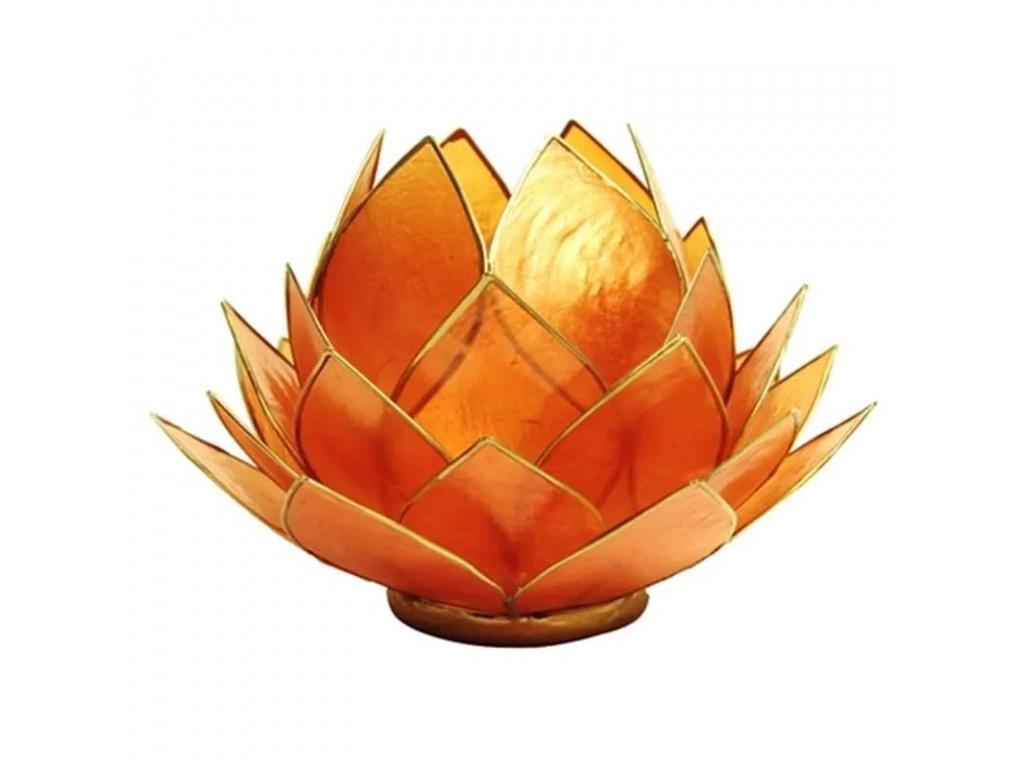 Lotosový svícen oranžový - velký