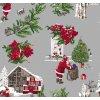 PVC ubrus vánoční, Santa claus, vánoční strom, vánoční růže 984-2 šedý