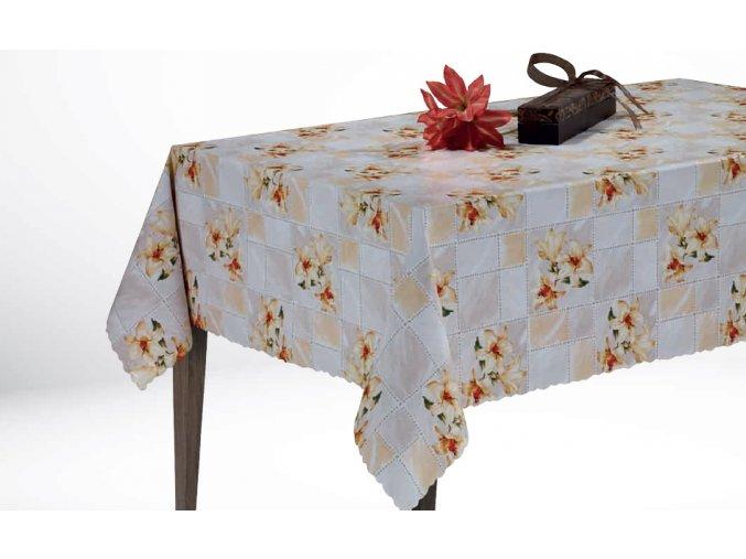 béžový pvc ubrus Sareha Florista 1135-03