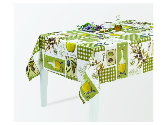 pvc ubrus oliva, olivový olej, snítka oliv