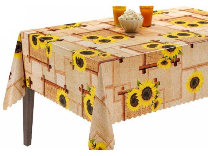ubrus pvc s textilním podkladem slunečnice pytlovina 1433-01 Sareha Florista
