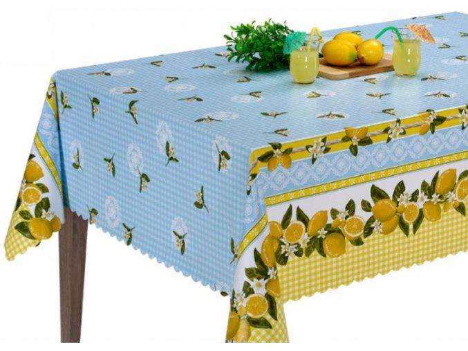 pvc ubrus s textilním podkladem retro kostka, citron 1438-01 sareha, florista