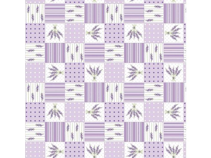 PVC ubrus Fantastik 727 01 levandule geometrické vzory fialový