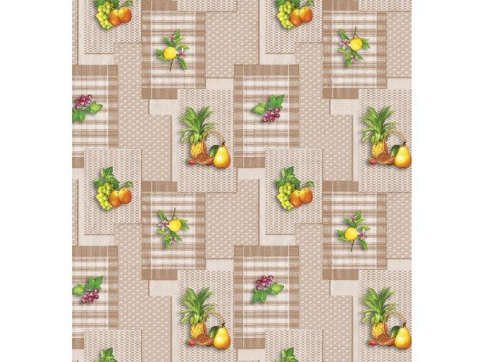 PVC ubrus Fantastik 697 01 mix ovoce hnědý