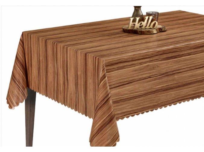 pvc ubrus dřevo s textilním podkladem Sareha 1415-01