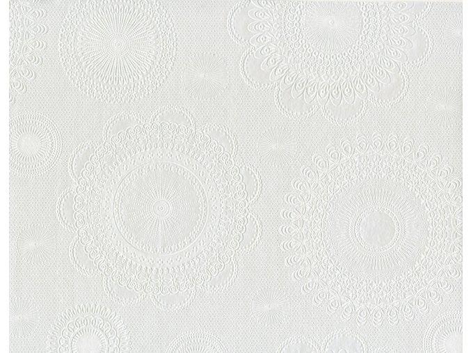 PVC igelitový plastový ubrus Fantastic Classik 519 51 bílý ozdobná kola, geometrické vzory