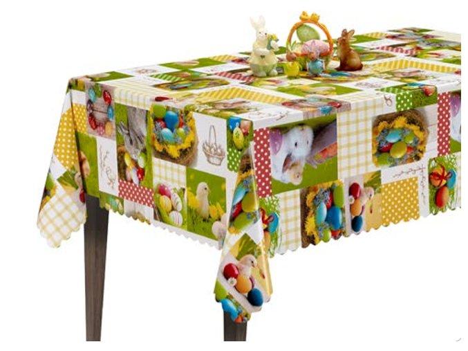 kusový Velikonoční ubrus pvc, pomlázka, králíček,ošatka, kraslice, velikonoce 2020