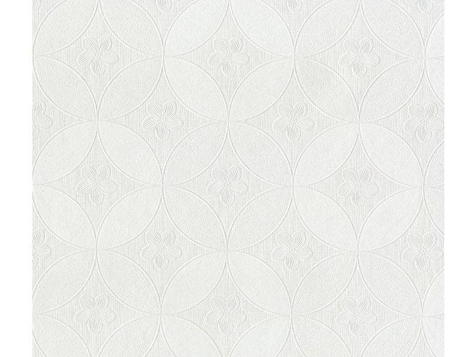 PVC igelitový plastový ubrus Fantastik Classis 518 51 bílý kola květ