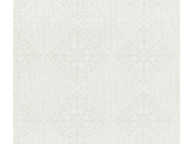 PVC plastový igelitový ubrus Fantastik Classic 544 51 bílý geometrický vzor