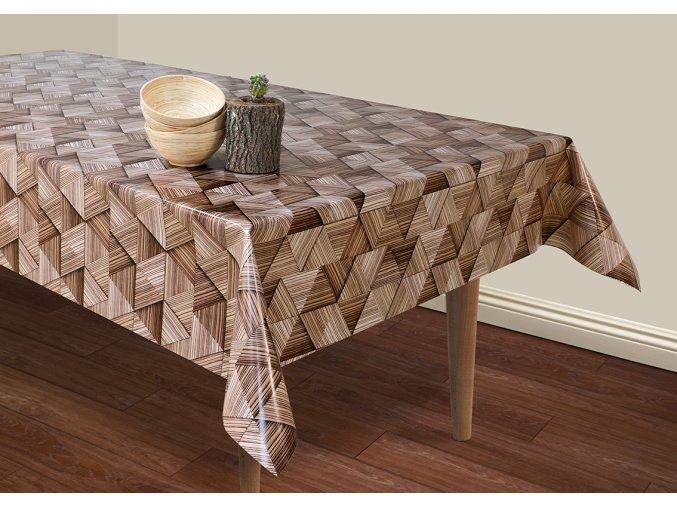 dřevěný vzor na pvc ubrusu s textilním podkladem