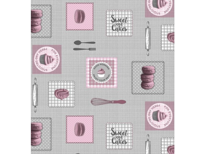 holčičkovský vzor pvc ubrusu makronky, cupcakes