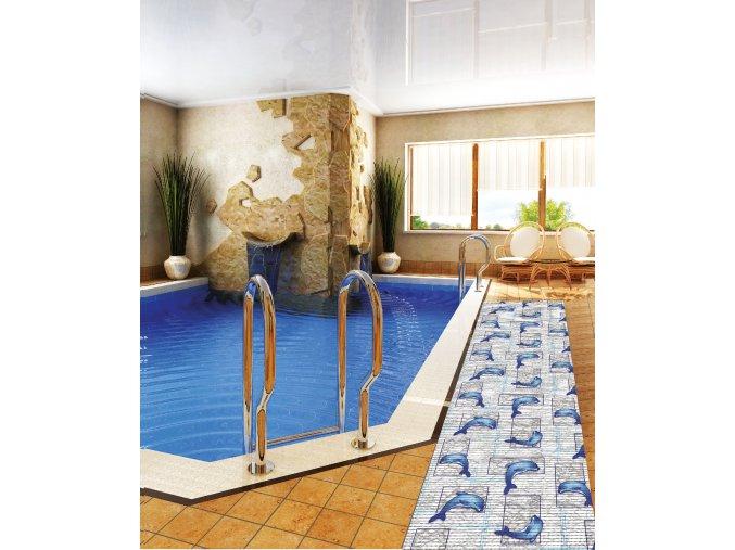 PVC předložka - pěnová předložka do koupelny - Aquamat - 445 - delfín, delfíni, mramor