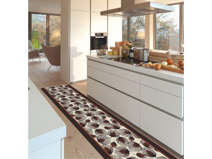 PVC předložka do kuchyně, koupelny - pěnová, měkká - 442 - listy