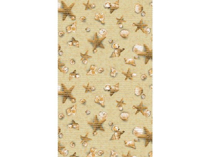 PVC pěnová předložka, Aquamat - do koupelny, kuchyně - 465-1, kvězdice, lastury, škeble, písek