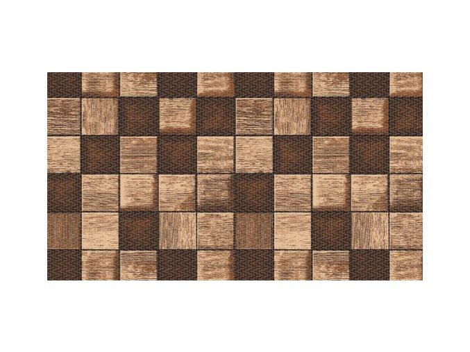 Měkká PVC předložka Terramat do koupelny, kuchyně, haly, chodby, cvičení - dřevo v kostkách 1027