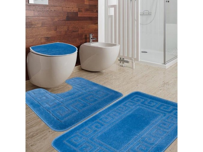 Koupelnová předložka Meandr vzor modrá sada 2 ks